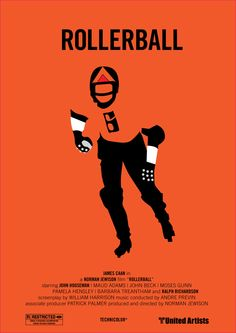 Rollerball - movie poster - Marcus Reed. Great movie, the original, of course. Makes an important and relevant social statement about the power that corporations in American society.
