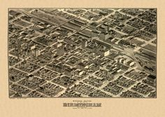 Vintage Map of Birmingham Alabama 1904 Jefferson County Poster