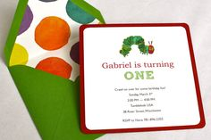 Eric Carle The Very Hungry Caterpillar Birthday Party Invitation - Square Envelope and Invitation, Envelope Liner, Multi-Layered Invitation