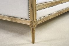 French Style Louis Oak Upholstered Bed Carving Detail