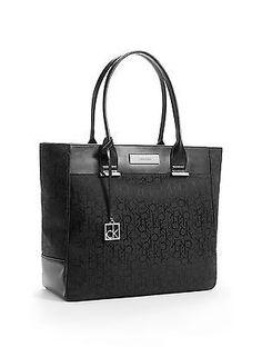Calvin Klein Logo Jacquard Large Per Tote Shoulder Bag Handbag Black