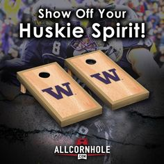 Show off your Washington Huskie Spirit with these officially licensed, regulation sized Cornhole Boards! Don't forget your Washington Cornhole Bag set!  http://allcornhole.com/shop/washington-cornhole-boards-hardcourt-officially-licensed/
