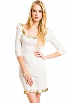 Scoop Neck Embellished Dress in White -  http://www.glamourgirly.com/scoop-neck-embellished-dress-in-white/