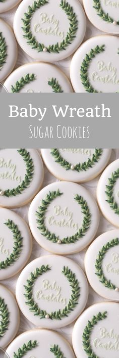 Personalized Laurel Wreath Baby Cookies - One Dozen Decorated Cookies #affiliate
