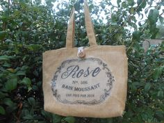 Borsa in tela juta con stampa rose e fodera cotone righine ., by Le gioie di…