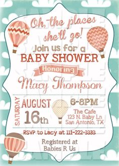 Oh The Places You'll Go INVITATION - Baby Shower - Hot AIR BALLOON Invite - Baby…