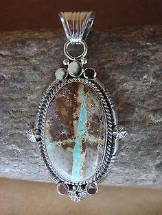 Navajo Indian Sterling Silver Boulder Turquoise Pendant! Handmade Southwestern