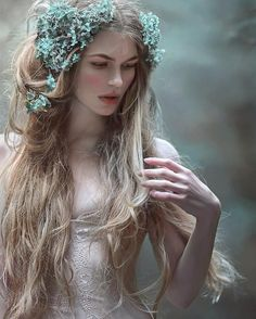 ":pretty summer fairy wedding or ball style fashion, hair and makeup inspiration.  ""Hortensia crown 