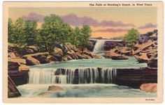 """Antique Texas Postcard: """"The Falls at Harding's Ranch, in West Texas""""  1930's Linen Postcard"""