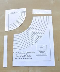 """Circle skirt template! Finally something I can sew without nearly crying!!! Sized 16""""-46"""" waist, so girls and women!"""