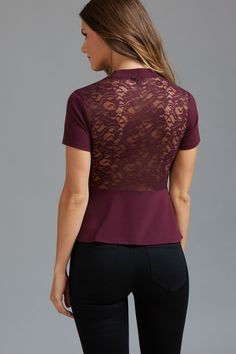 Look legendary - Mock Neck Peplum Top with Lace