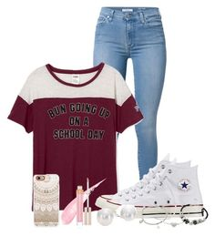 """""""messy buns & converse"""" by nina4ever14 ❤ liked on Polyvore featuring 7 For All Mankind, Converse, Lipsy, Mikimoto, Stila and Casetify"""