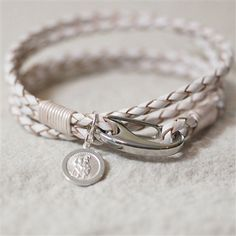 White Leather St Christopher Wristband.  Men's Gifts / Gifts for Him from Oh So Cherished