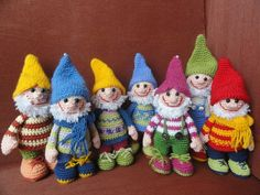 """The Seven Dwarves""...Hi-ho, Hi-ho!  I SO wish my hands would let me make such small things .... these are just SO cute !"