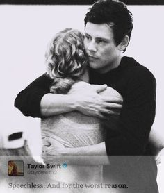 Pictured with good friend Cory Monteith, March 23, 2010, along with a tweet from Taylor Swift at 2 a.m. on July 14, 2013 in response to hearing that the Canadian actor had passed away on July 13, 2013... rest in peace.