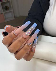 Acrylic Nails Coffin Pink, Long Square Acrylic Nails, Coffin Nails Long, Rhinestone Nails, Bling Nails, Drip Nails, Nails Design With Rhinestones, Acylic Nails, Exotic Nails