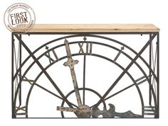 Time for something different: Wrought iron and wood console table with a clock face motif.Materials: WROUGHT IRON, FIR WOOD Dimensions: x x Wrought Iron Console Table, Industrial Console Tables, Vintage Industrial Furniture, Industrial Style, Design Furniture, Accent Furniture, Table Furniture, Furniture Ideas, Farmhouse Furniture