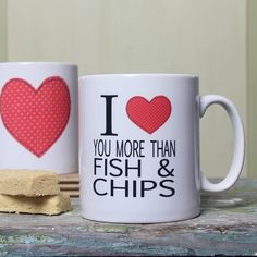 Valentines Mugs, Fish And Chips, Tableware, Dinnerware, Tablewares, Dishes, Place Settings