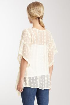 Embroidered Sheer Silk Blouse