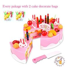 BigNoseDeer birthday Children's Day gift Food Play Toy Set DIY cutting Pretend Play Birthday Party Cake with Candles for Children Kids babies girls Classic Toy 37pcs(New Outer Package) ** To view further for this item, visit the image link.