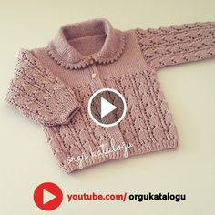 Let's learn together your own fashion accessories, basic and other creative points, techniques and tips to learn or develop the art of crochet and kni. Baby Sweater Knitting Pattern, Knitted Baby Cardigan, Baby Knitting Patterns, Baby Patterns, Crochet Case, Knitted Slippers, Knitting Videos, Knitting For Kids, Baby Sweaters