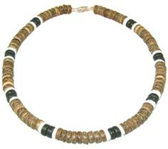 "Native Treasure - Puka Shell Necklace Brown Coco 2 White Puka 2 Black Coco Beads Surfer Choker - 8mm (5/16) - 18 Inch by Native Treasure. $15.95. This Native Treasure Authentic Tropical Jewelry Puka Shell Necklace is Beautifully Hand-crafted in our Tropical Jewelry Shop by our own Native Island Artisans  using 8mm (5/16"") Hand-Sorted Super Class 'A' Quality Shells with Brown and Black Coco Beads. (not for water use)  .....It is our standard 18"" length and is ideal for ..."