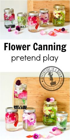 Flower Petal Canning: Fun pretend play activity for kids to enjoy in the summer…