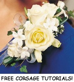 Rose Corsage - DIY florist supplies plus free flower arranging tutorials at this website.