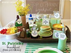St. Patrick's Day Breakfast - Green pancakes, green milk (pinch proof potion), fruit skewers (rainbow on a stick)...adorable and fun green breakfast!