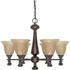 """Mericana 6 Light 26"""" Chandelier with Amber Water Glass"""