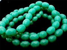 Art Deco Glass Bead Necklace Green Peking Sterling Silver Handmade Graduated | eBay
