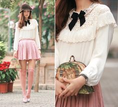 Lace Collar With Pearls And Crystals, Yesstyle Lace Trim Shirt, Romwe Pink Pleated Skirt, Miu Miu Silver Mary Jane