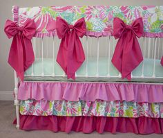 Bumperless  Baby Girl Crib Cot Bedding Made with Lilly Pulitzer Fabric Flamingo Pink Hot Pink Lime Green with Large Detachble Bows