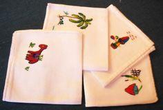 4 EMBROIDERED KID NAPKINS  Vintage  Drawn Thread by YESTERDAYTRUNK, $6.75