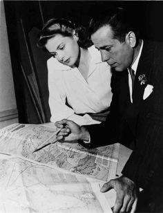 Ingrid Bergman with Humphrey Bogart on the set of Casablanca (1942)