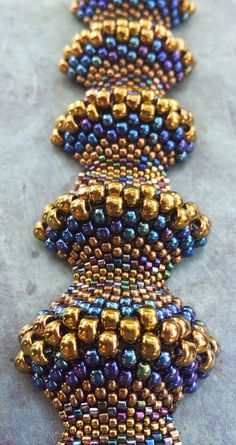 Beaded Bracelet Handwoven Gorgeous Miyuki Peyote Stitched Covex/Concave Blue and Gold Beaded Bracelet. Made with Love. - Thumbnail 1