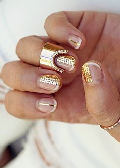 gold embellished manicure and nail ring by Vita Fede | @andwhatelse