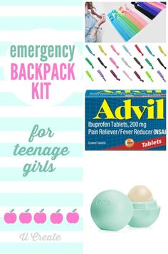 Emergency Backpack Kit for teenage girls. Great ideas to keep in your purse too!