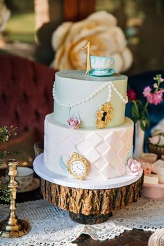 Stunning cake at an Alice in Wonderland tea party! See more party ideas at CatchMyParty.com!