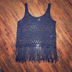 H&M Black Fringe Festival Top Worn once! Black fringe top from H&M. H&M Tops Tank Tops