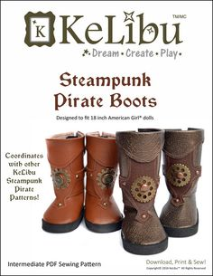 """STEAMPUNK PIRATE BOOTS 18"""" DOLL SHOES"""