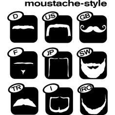 Moustache Weltweit Style - Unterschiedliche Typen von B�rten passend zum Herkunftsland.