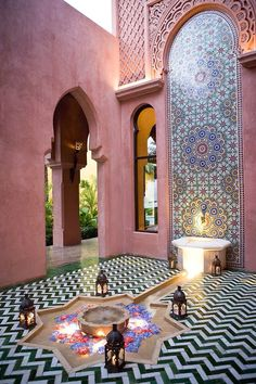 Moroccan Decor 73529 Moroccan Riads Courtyards are filled with an array of colors, textures, and the courtyard is considered the heart of the home - take a look at these magnificent Moroccan Riad Courtyards that will have you packing your bags in no time! Moroccan Kitchen, Moroccan Garden, Moroccan Bathroom, Moroccan Tiles, Moroccan Art, Modern Moroccan Decor, White Bathroom, Bathroom Wall, Small Bathroom
