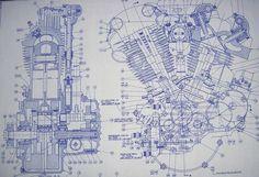 Knucklehead Harley Engine Drawing / Blueprint