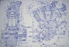 Knucklehead Harley Engine Drawing / Blueprint