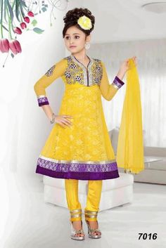 Yellow net purple border readymade kids anarkali suit which is adorned with kasab, embroidery and lace work. This dress has sizes available from 18 to Wedding Dresses For Kids, Little Girl Dresses, Girls Dresses, Wedding Ideas, Kids Salwar Kameez, Shalwar Kameez, 10 Years Girl Dress, Kids Suits, Men's Suits