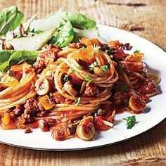 Spanish Spaghetti with Olives | MyRecipes.com  I did not change a thing! I only suggest that you double it and freeze half for a fast diner.