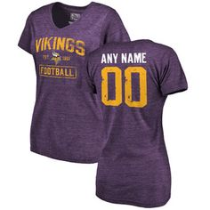 Women's Minnesota Vikings Purple Distressed Custom Tri-Blend V-Neck T-Shirt #vikings #nfl #minnesota