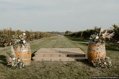 Vineyard wedding ceremony decor idea - outdoor wedding ceremony - See more details from Dan and Alyson's wedding on WeddingWire! {Ashley Olafsson Photography}