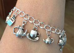 One of a Kind Tea Charm Bracelet - Beaded Bracelets - Roses And Teacups  - 1